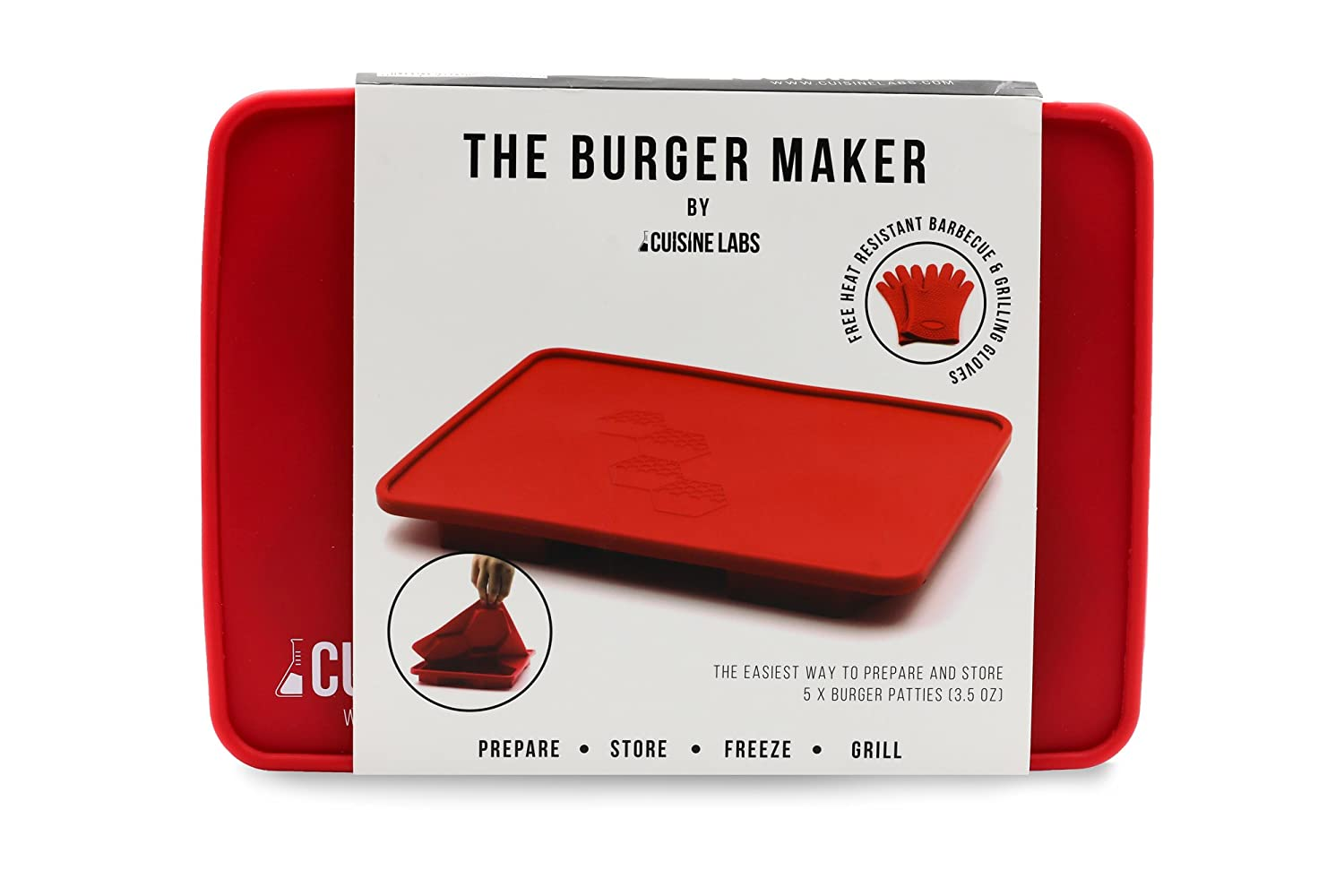The Burger Maker 5 in 1 Innovative Silicone Burger Press and Freezer Container, with Free Silicone Barbecue Gloves. Best Oven, BBQ Grilling Heat Protection