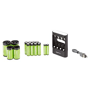 AmazonBasics USB Battery Charger Pack with 10-Pack AA, AAA Batteries