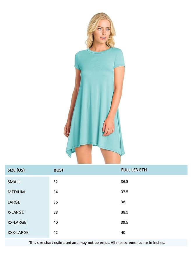 78e11f69403f8 FACA Womens Shark Bite Loose Fit Tunic T-shirt Dress (S-XXXL) at Amazon  Women's Clothing store: