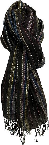 Multi-color Woven Striped Long Cotton Scarf