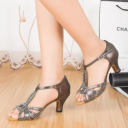 XUE Zapatos Latinos para Mujer Brillo espumoso/Sandalia de Gamuza/Tacón Brillante Interior Fiesta