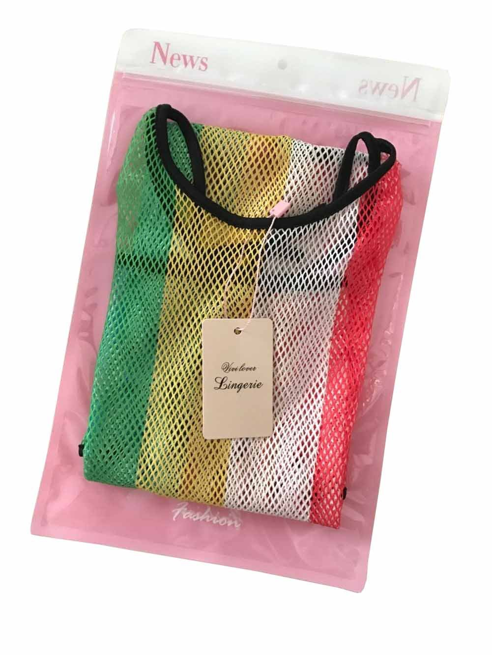 Vivilover Women Sexy Lingerie See-through Mesh Babydoll Silver Dress with G-string (Rainbow)