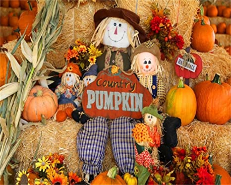Aofoto 10x8ft Thanksgiving Country Pumpkin Background Halloween Decorated Barn Scarecrow Doll Photography Backdrop Fall Farm Haystack Hay Bale Corn
