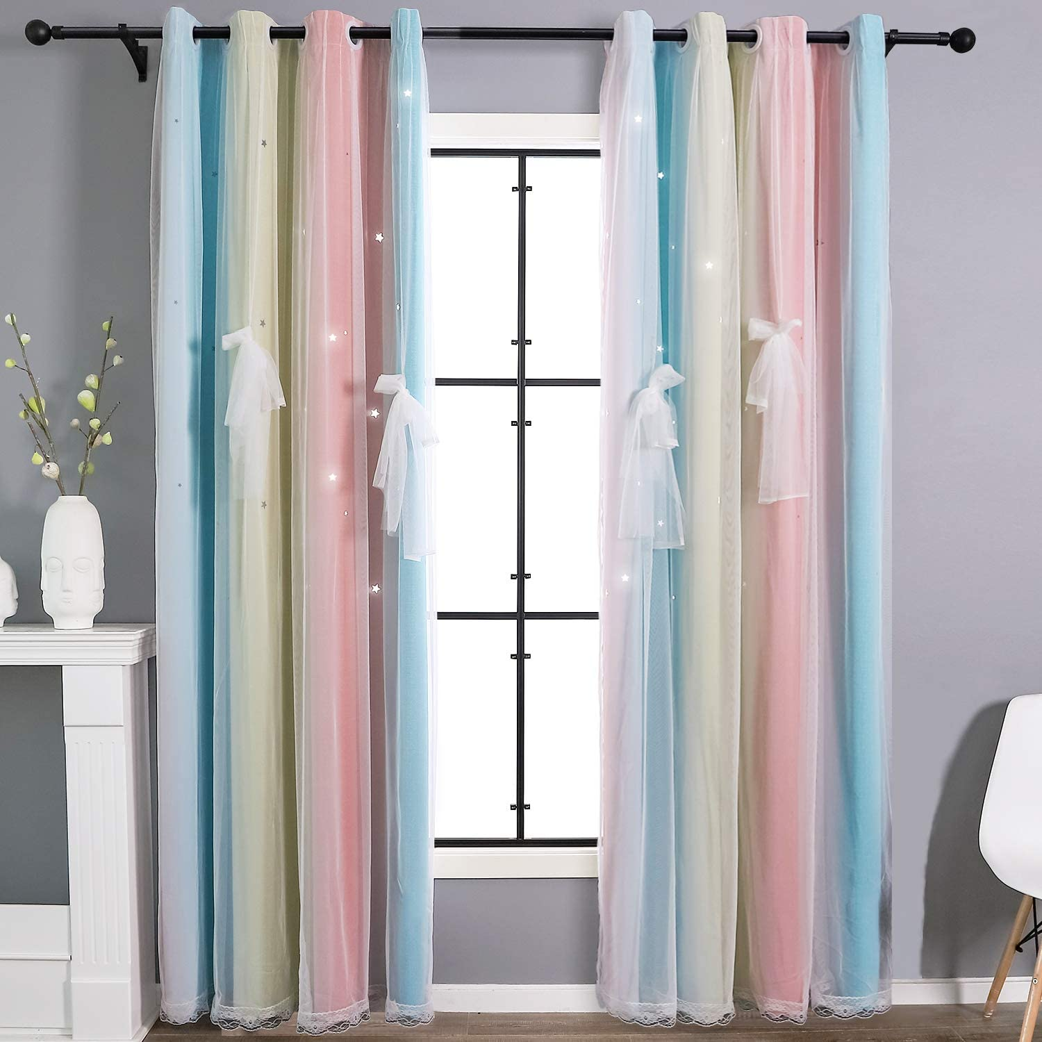 STFLY 2 Panels Star Curtains for Girls Bedroom, Room Darkening Kids Blackout Curtains Double Layer Tulle Overlay Rainbow Lace Curtain Room Decor Drapes (Stripe Rainbow, 52W x 84L)