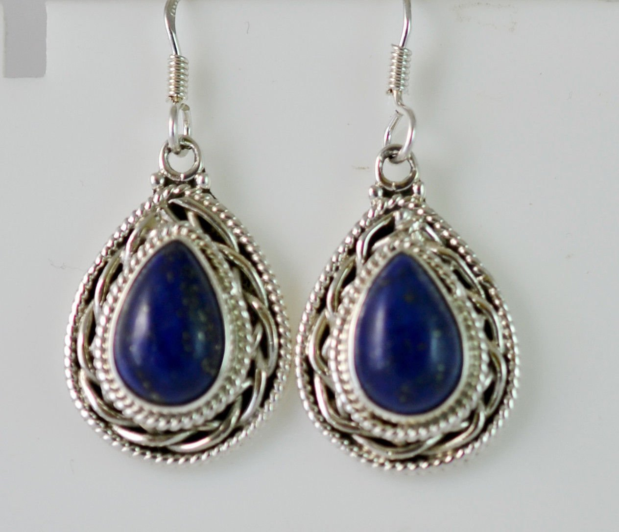 Lapis Lazuli Silver Earrings 925 Solid Sterling Silver Handmade Jewelry