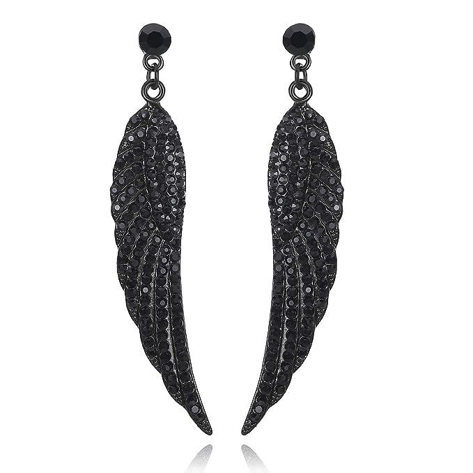 Mecresh - Pendientes largos de plata/oro/negro para boda estilo vintage con forma de gota para damas de honor
