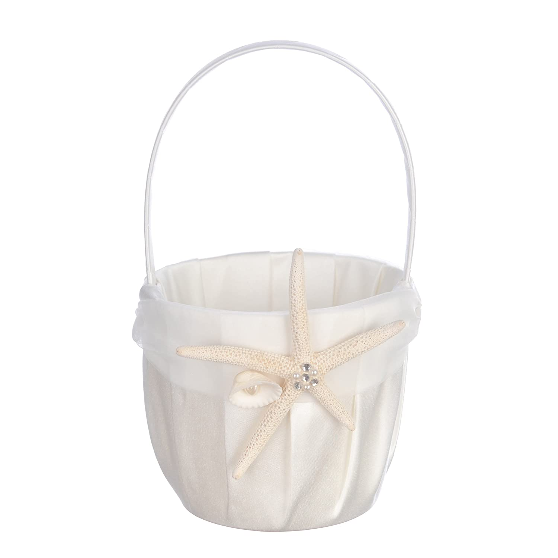 Remedios Starfish Ivory Organza Wedding Basket Flower Girl Basket LWCAHL110032CP1S