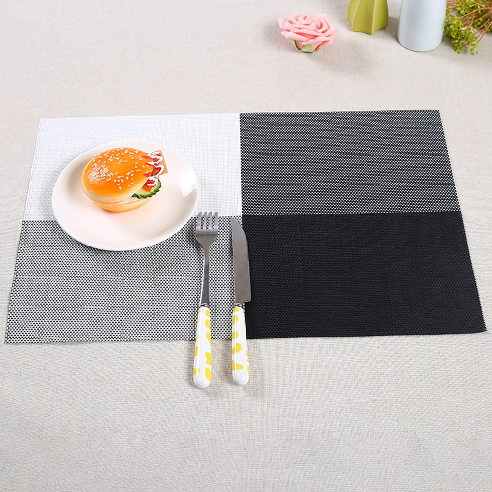 YC Modern Placemats, Heat-resistant Placemats Stain Resistant Anti-skid Washable PVC Table Mats Set of 4 (#0)