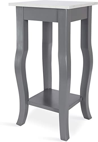 Kate and Laurel Lillian Glam Man-Made Marble End Table, 12 x 12 x 24, White Marble Top and Gray Painted Wood Base, Chic Side Table for Serving, Storage, and Display