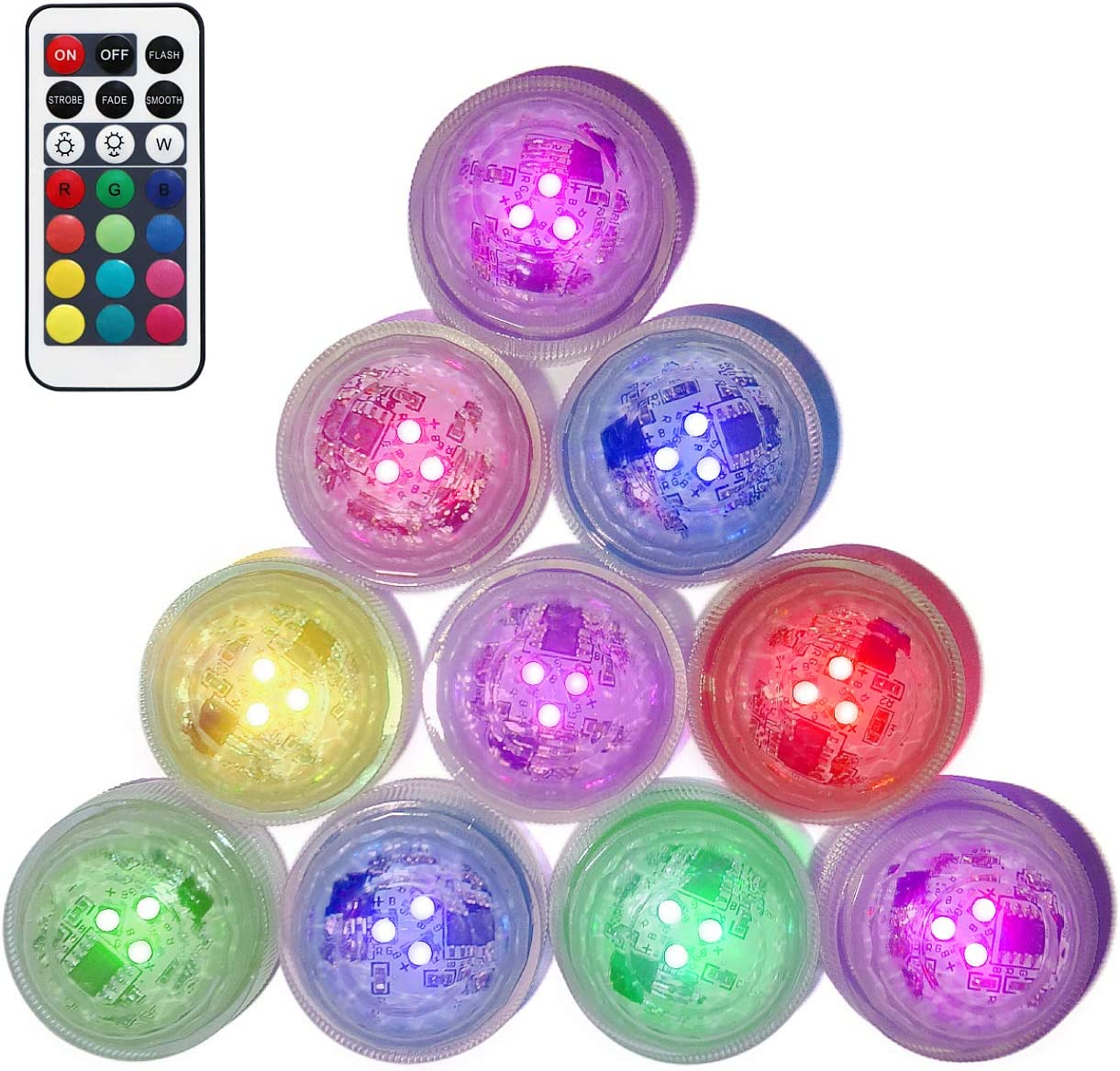 Sunyel Submersible LED Tea Lights, Waterproof and Battery Powered RGB Color Changing LED Light with Remote 10 Pack