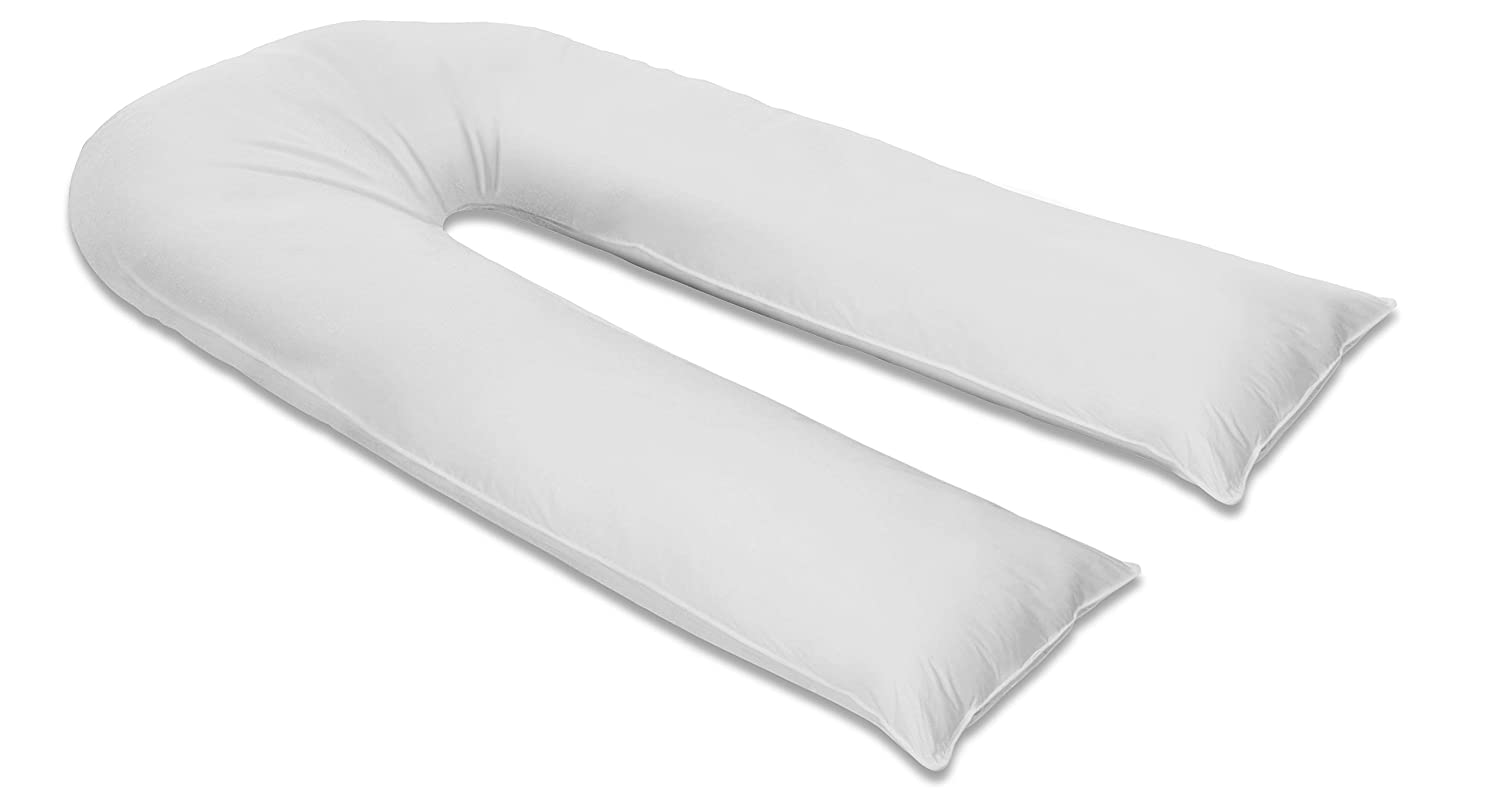 12Ft U Pillow Body//Bolster Support Maternity Pregnancy Support Pillow with Free Removable Cotton Blend Breathable Zip Cover White Made in UK
