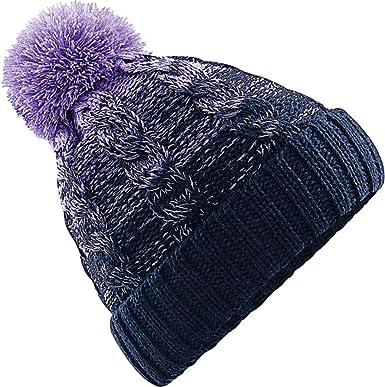 d7b6d62f2e07bf Neverless Strick-Mütze Damen Grobstrick Pudel-Mütze zweifarbig Ombré  Bommel-Mütze Winter-