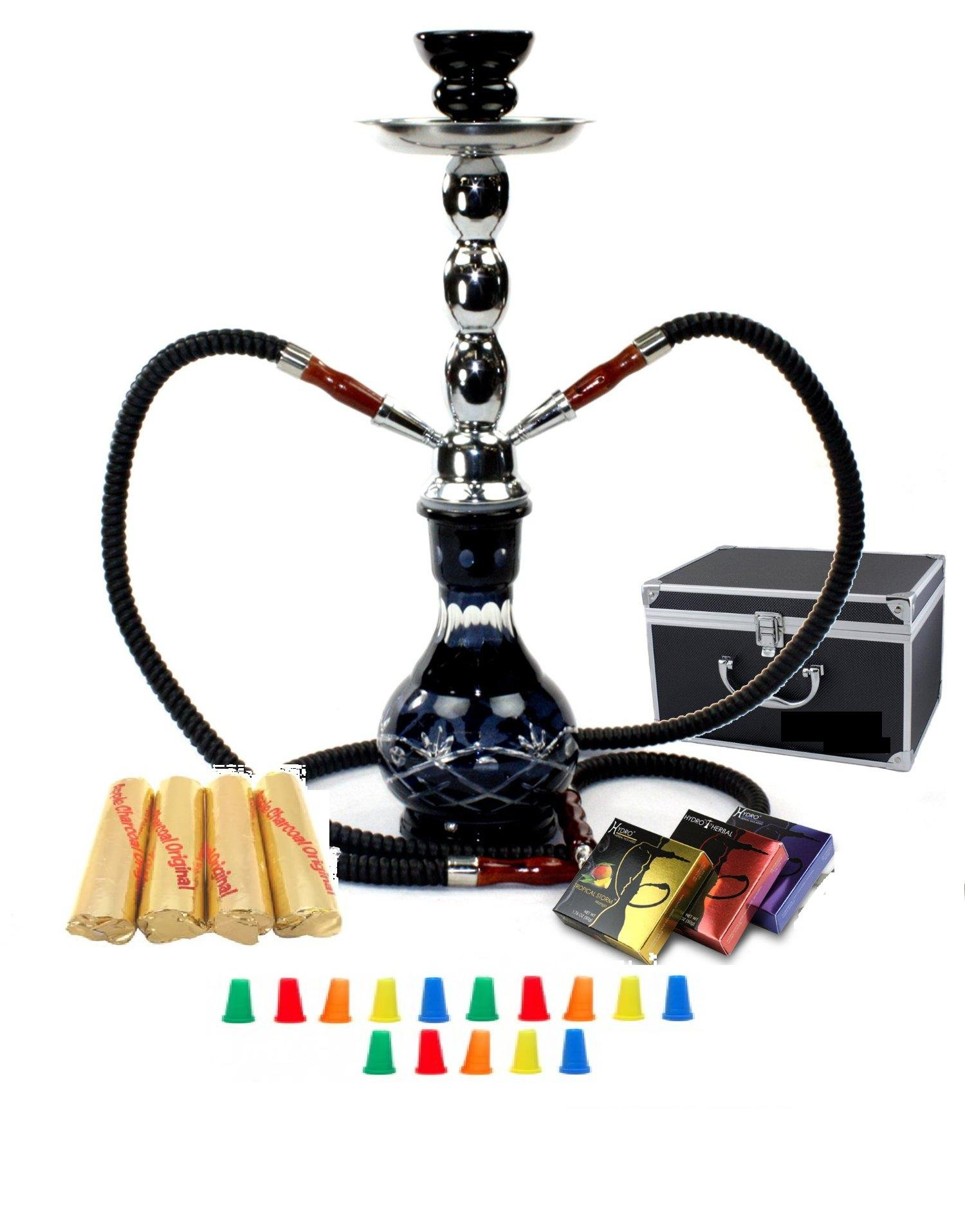 Zebra Smoke Starter Series: 18'' 2 Hose Hookah Combo Kit Set w/ Instant Charcoal (Like Three Kings Charcoal), Hydro Herbal Molasses(like Blue Mist), and Hookah Mouth Tips Smokes More Then Hookah Pen (BlacK)