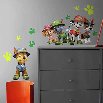 RoomMates RMK3611GM Paw Patrol Jungle Peel and Stick Giant Wall Decals