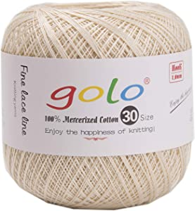 golo Crochet Thread Yarns for Knitting 100% Contton Yarn for Knitting Wheat Color