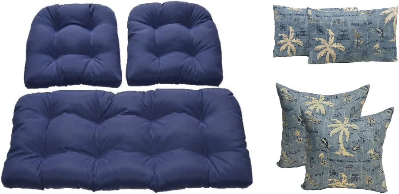 Wicker Cushions and Pillows 7 Pc Set – Solid Navy Blue Tufted Wicker Loveseat 2 Chair Cushions and 17 Lumbar Rectange Made with Tommy Bahama Island Song Blue Pillows – Indoor Outdoor Fabric