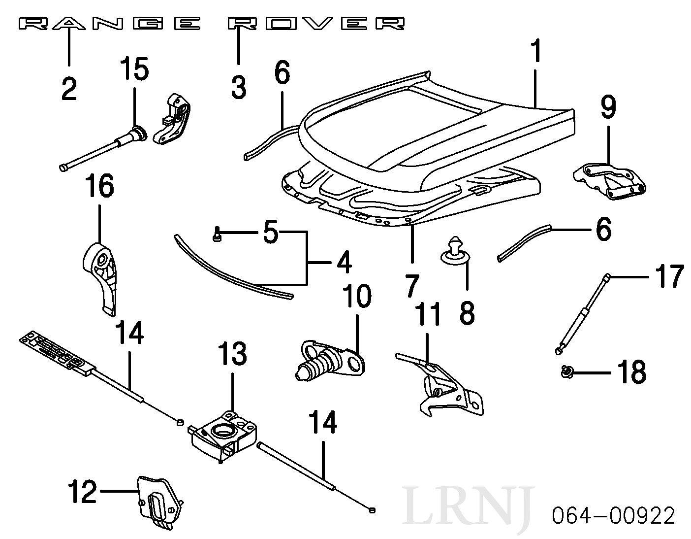 Land Rover Range 2003 2012 Hood Upper Gas Strut 2001 Engine Diagram Set Of 2 Part Bkk760010 Automotive