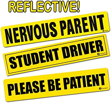 Zone Tech 3Pk Magnetic Please Be Patient Student Driver Bumper Warning Decals