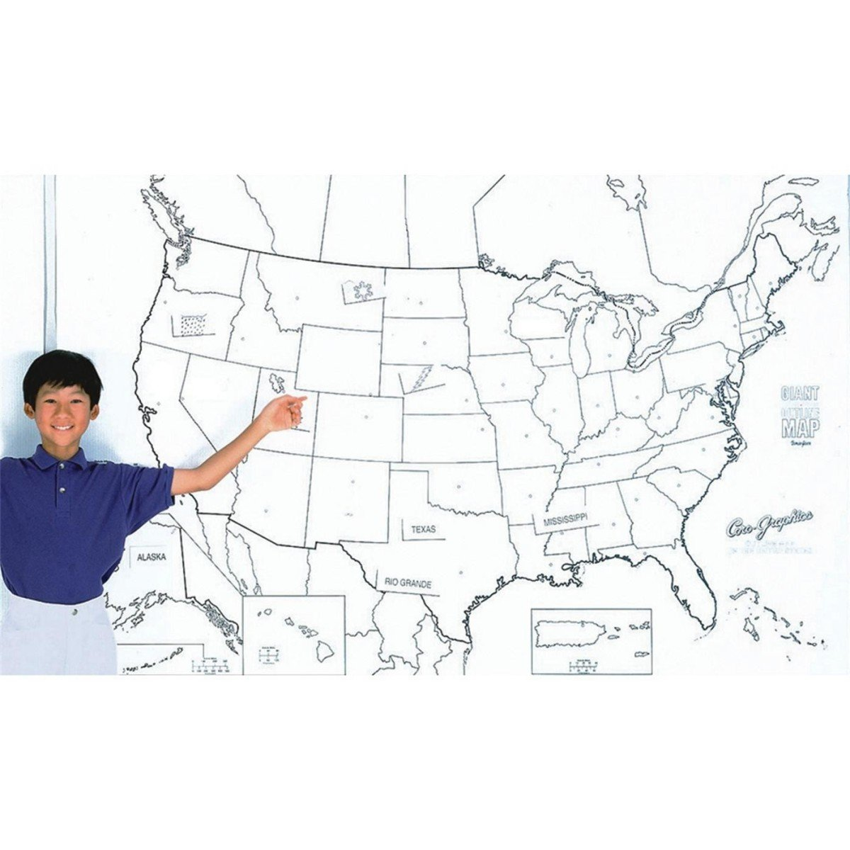 Amazoncom PAC GIANT US MAP IN X IN Wall Maps - Colorable us map