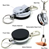 SAMS Heavy Duty Retractable Reel Badge Holder Steel Cord for Key Chain or Fishing Tools
