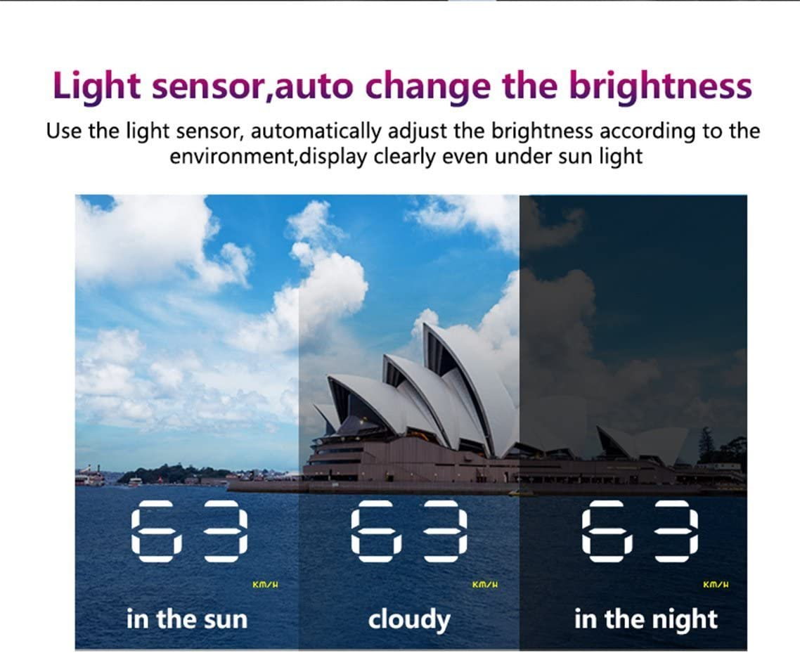 Lzcat Digital Car Speedometer Auto 3.5 A1000 HUD Head Up Display Windshield Projector Auto Power on//off Blue