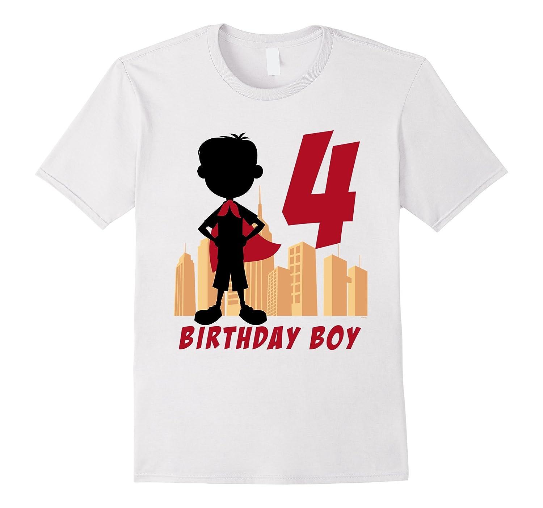 Kids 4th Birthday Comic Superhero T Shirt For 4 Yr Old Boys TH