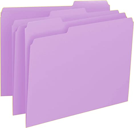 1//3 Cut Lavender 100//Box File Folders Letter Reinforced Top Tab