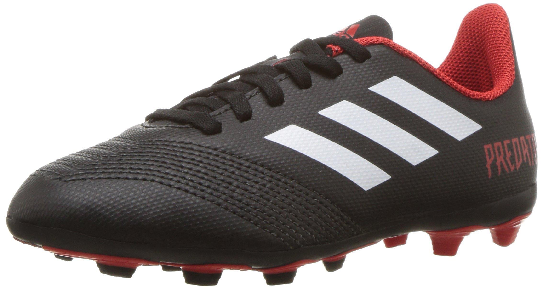 adidas Unisex Predator 18.4 Firm Ground Soccer Shoe, Black/White/red, 2 M US Little Kid