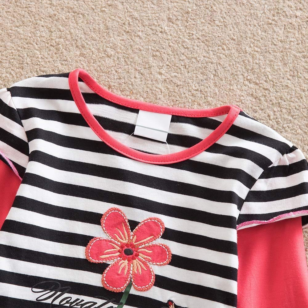 Hatoys Dresses Baby Girls Long Sleeve Stripe Floral Flower Party Dress Outfits Clothes(6 Years,Watermelon Red) by Hatoys (Image #3)
