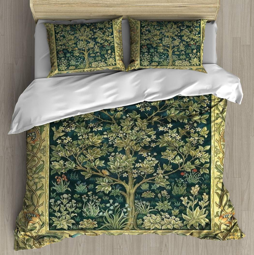 WYLZ0123xzan Tree of Life by William Morris Bedding Duvet Cover with 2 Pillows Simple Style Bedding Set Relaxed Soft King Casual Modern Home Pattern Style