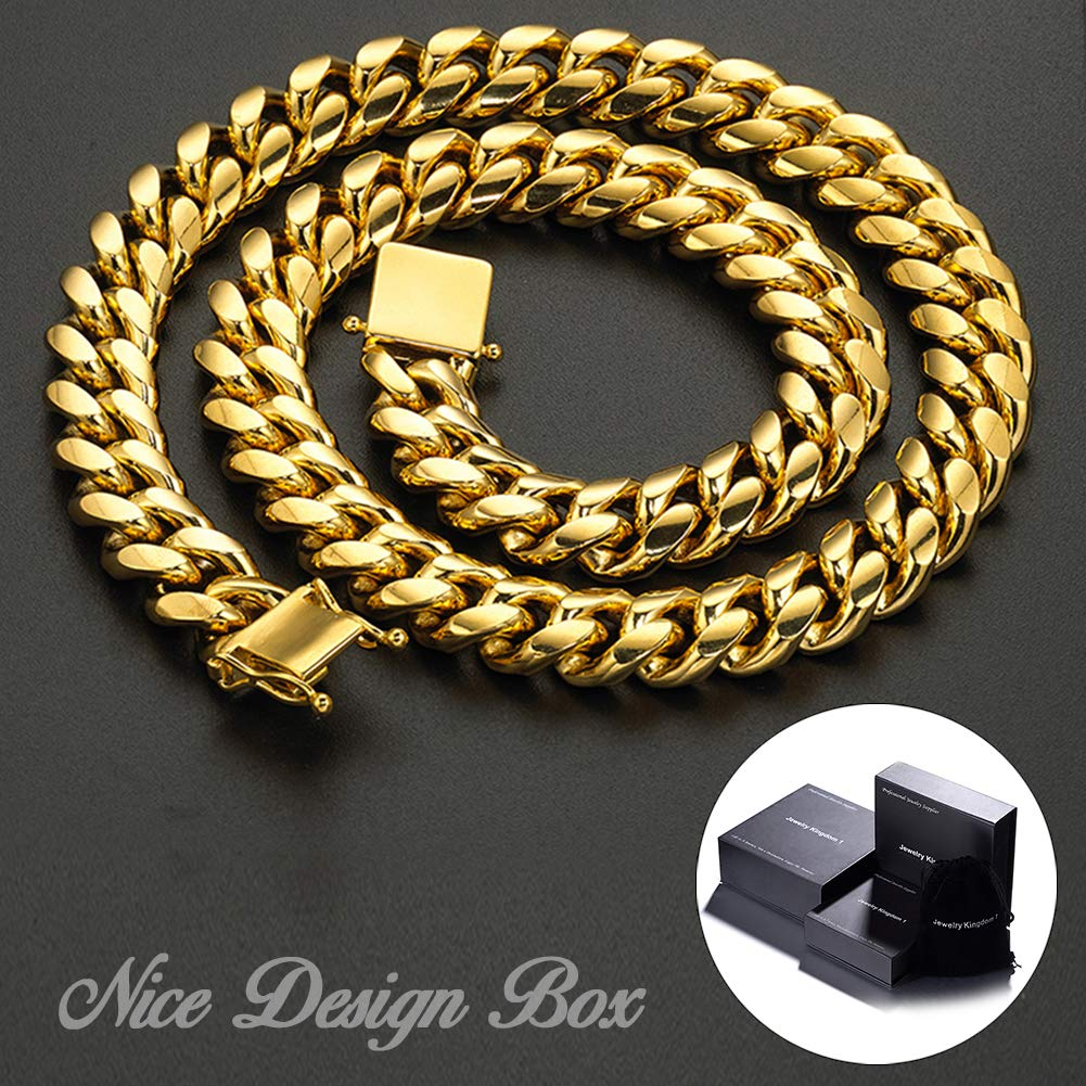 Jewelry Kingdom 1 Necklace and Bracelet for Men, 24K Gold Cuban Link Chain, Big and Heavy Miami Chain, 15MM Stainless Steel Curb Chain Choker for Boys and Bikers 8-30inches