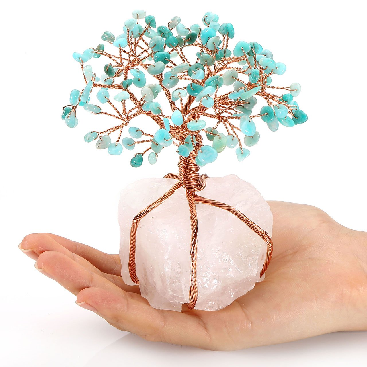CrystalTears 7 Chakra Healing Crystal Money Tree Feng Shui Ornament Copper Wrapped on Clear Quartz Cluster Base Figurine Decoration for Wealth and Luck