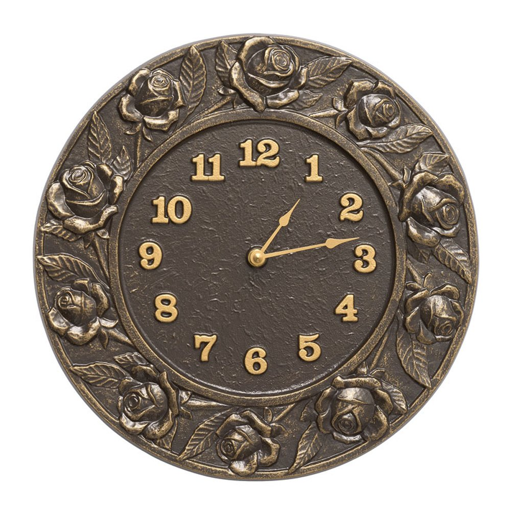 Whitehall Products Rose Clock, French Bronze