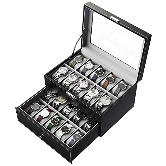 CRITIRON Caja para Relojes 20 Slot, Porta Relojes y Joyas, 2 Capas Vitrina de Hebilla Metálica, Piel Sintética Real, Vidrio Transparente, Negro