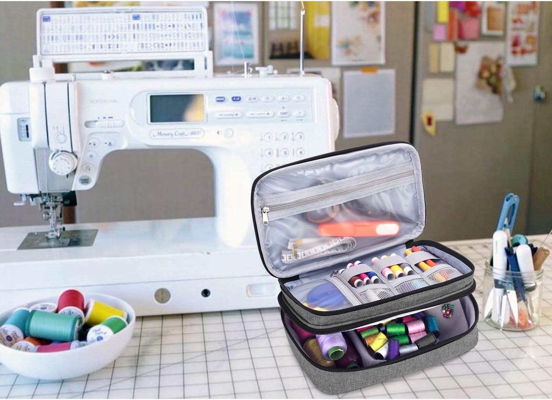 Hilo Azul Bolsa para Agujas Luxja Bolsa para Kit de Costura Tijeras y Otras Materiales de Costura Doble Capa Organizador de Accesorios de Costura