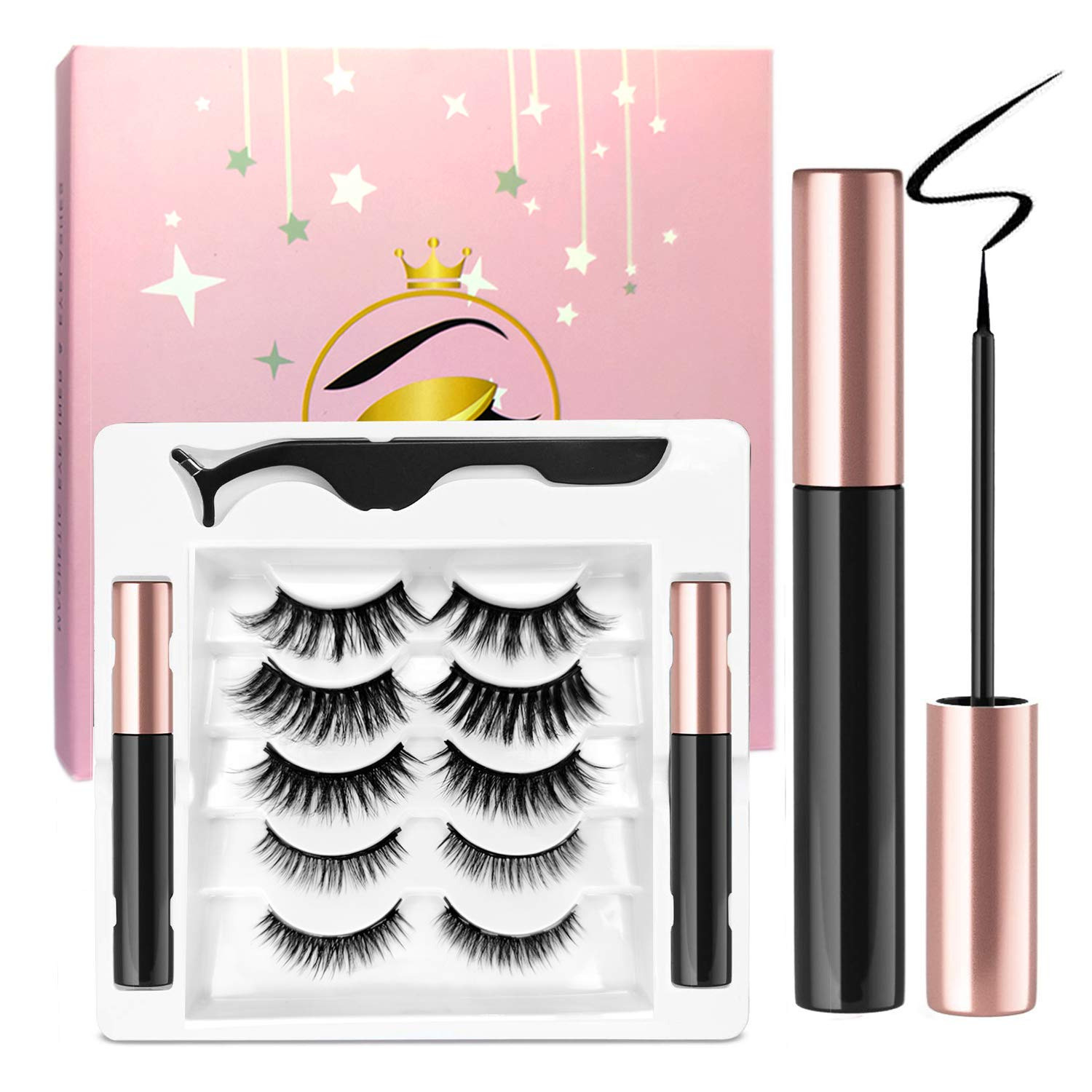 Ceaver Magnetic Eyelash and Eyeliner Set - 2 Magnetic Eyeliner Pencils Waterproof Magnetic Eyelash Eet with 5 Pairs of Reusable Magnetic Eyelashes in Different Styles for Easy Wear