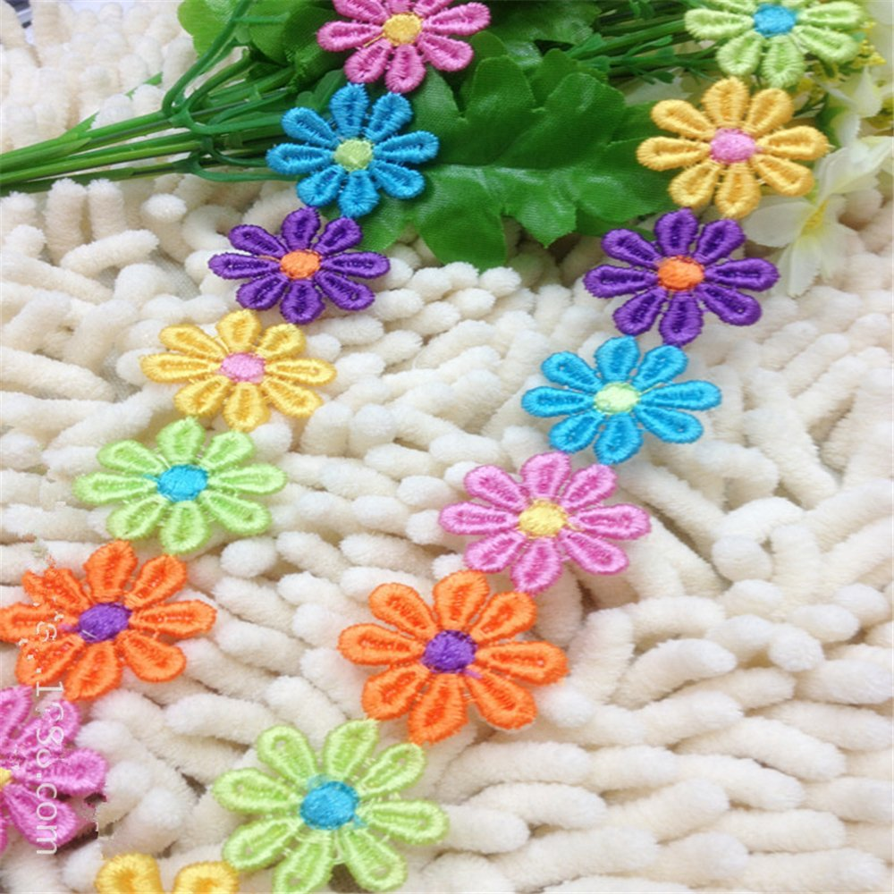 5 Yard Rainbow Daisy Flower Lace Edge Trim Ribbon 25 mm// 1 Width Vintage Style Colorful Edging Trimmings Fabric Embroidered Applique Sewing Craft Wedding Bridal Dress Scrapbook Gift Party Decoration