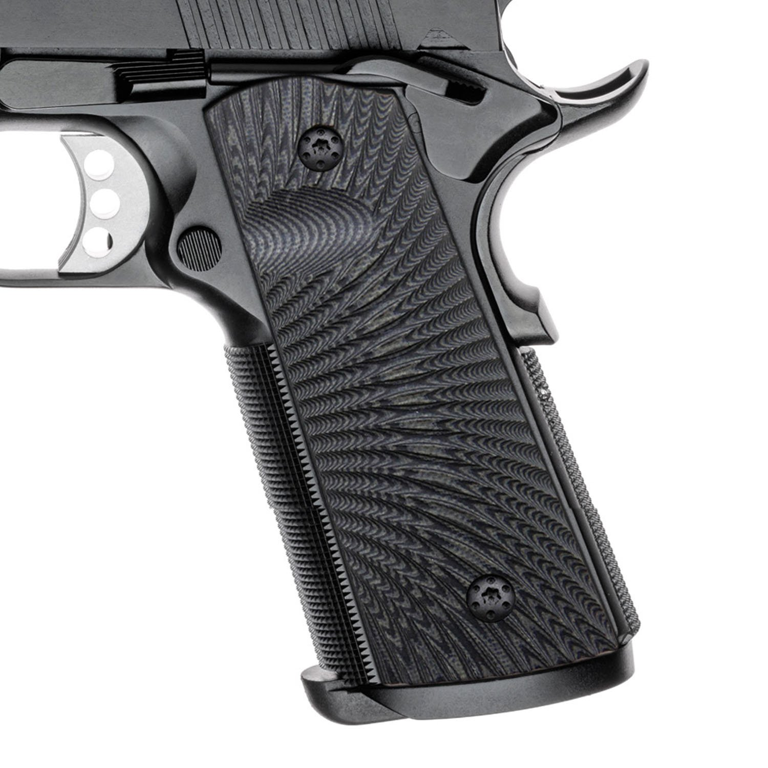 Cool Hand 1911 Grips, Magwell Cut, Full Size(Government/Commander), Sunburst Texture,G10, Ambi Safety Cut Grey/Black by Cool Hand