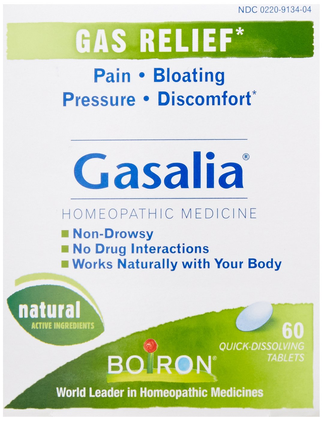 Boiron Gasalia, 60 Tablets, Homeopathic Medicine for Gas Relief (Pack of 3)