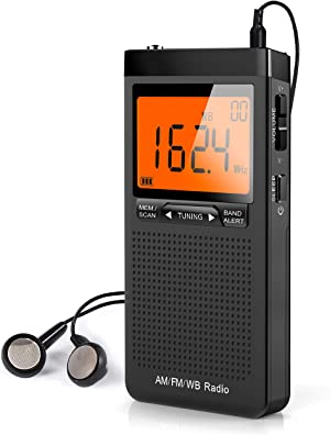 NOAA Weather Alert Radio, Portable AM/FM Battery Operated Transistor Radio with Headphone Jack, Best Reception, Digital Clock, LCD Display, Pocket Radio for Office, Bedroom, Running, Walking
