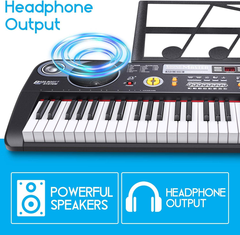 RenFox Teclado Musical Digital Electrónico portátil con 61 Teclas, Teclado de Piano, Soporte de Música, Fuente de Alimentación y Altavoces ...