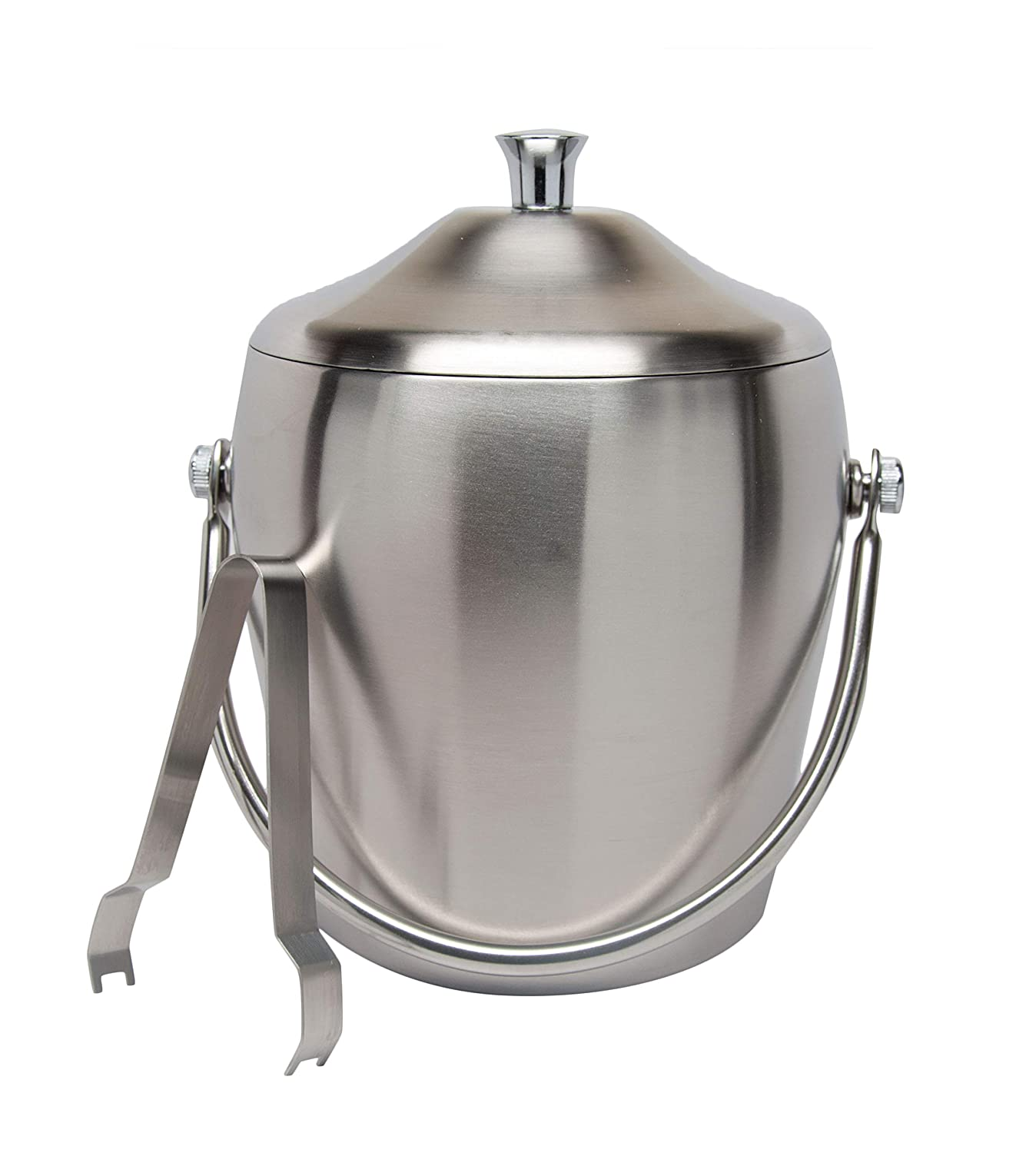 Elegant Stainless Steel Double Walled Ice Bucket Cocktail Set with Lid Tongs Set Bar Accessory Set 7.5 Inch Parties Kitchen Storage Party Supplies Accessories Xena X-16475-6-KIT8