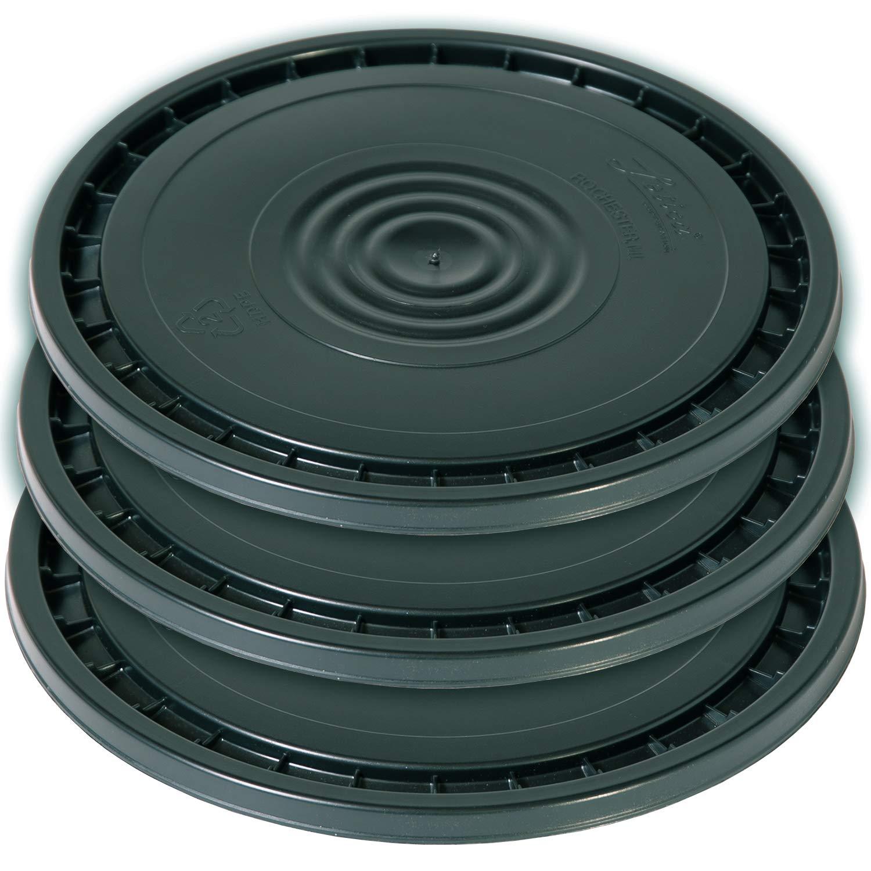 Meranti Reusable Easy Peel 3.5, 5, 6, and 7 Gallon Bucket Lid | Food Grade | 3 Pack (Black)