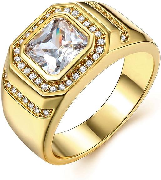 Image of Anillo para hombre chapado en oro amarillo de 18 quilates, ideal como anillo de compromiso, de boda, o de aniversario