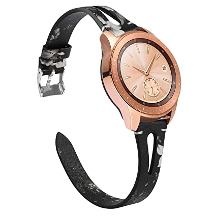 TOYOUTHS Leather Strap Compatible with Samsung Galaxy Watch 42mm Bands Women, 20mm Genuine Leather Wristband Replacement for Galaxy Watch Active ...