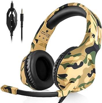 ShinePick Auriculares con Microfono, Cascos Gaming Xbox One, Gaming Headset para PS4 con Control de Volumen, Compatible con Laptop PC y Smartphone(Amarillo y Camuflaje): Amazon.es: Electrónica