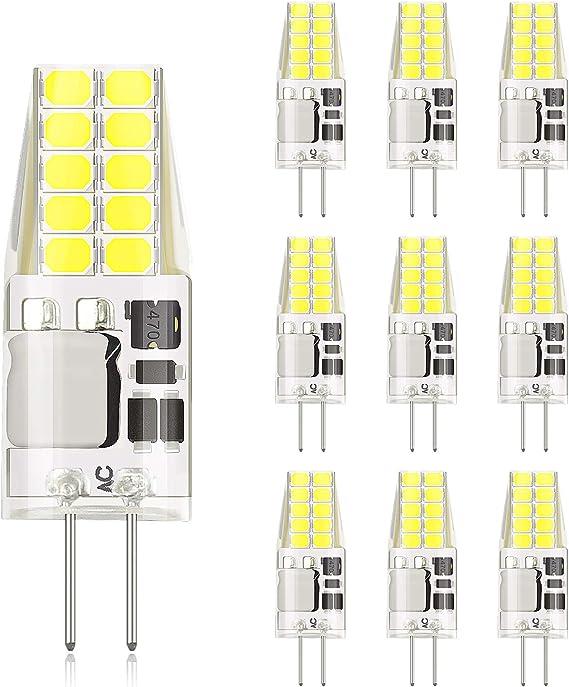 DiCUNO Bombilla LED G4, 3W 20 * 2835 equivalente a la lámpara halógena de 30W, No regulable, 300LM, AC/DC 12V, Blanco frío 6000K, Ángulo de haz de 360° - 10 Piezas: Amazon.es: Iluminación