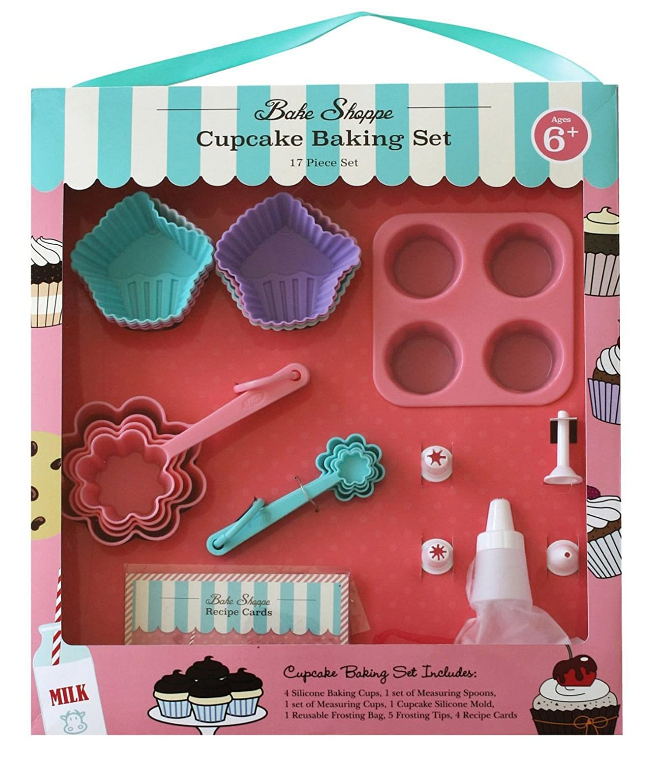 Handstand Kitchen Bake Shoppe 17-piece Real Cupcake Baking Set with Recipes for Kids Handstand Kids LLC BKS102