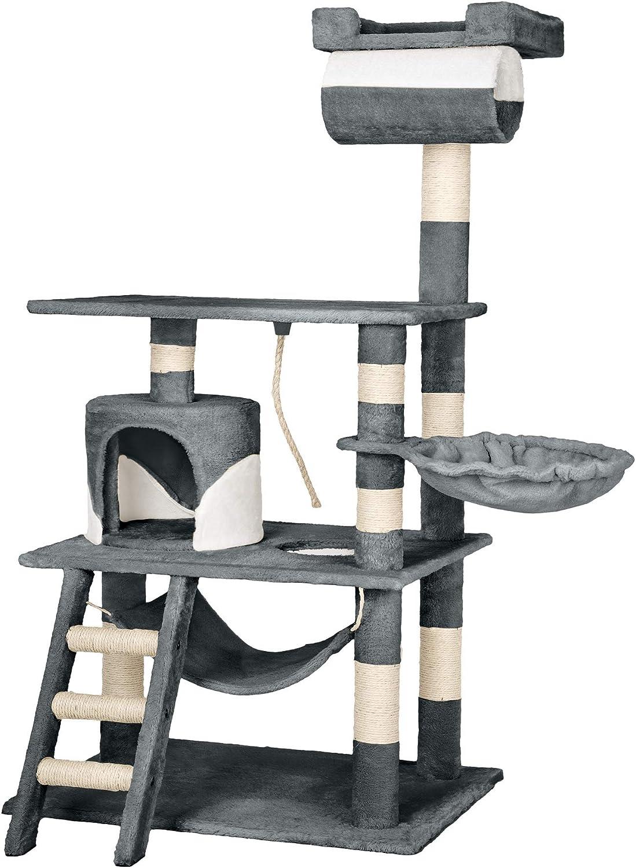 TecTake Rascador Árbol para Gatos 86x49x141cm (Gris Blanco | no. 402276)