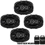Kicker DSC6930 6x9-Inch (160x230mm) 3-Way Speakers, 4-Ohm bundle